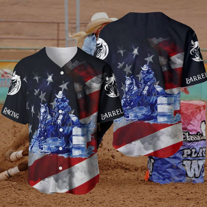 Barrel Racing Baseball Jersey Shirt