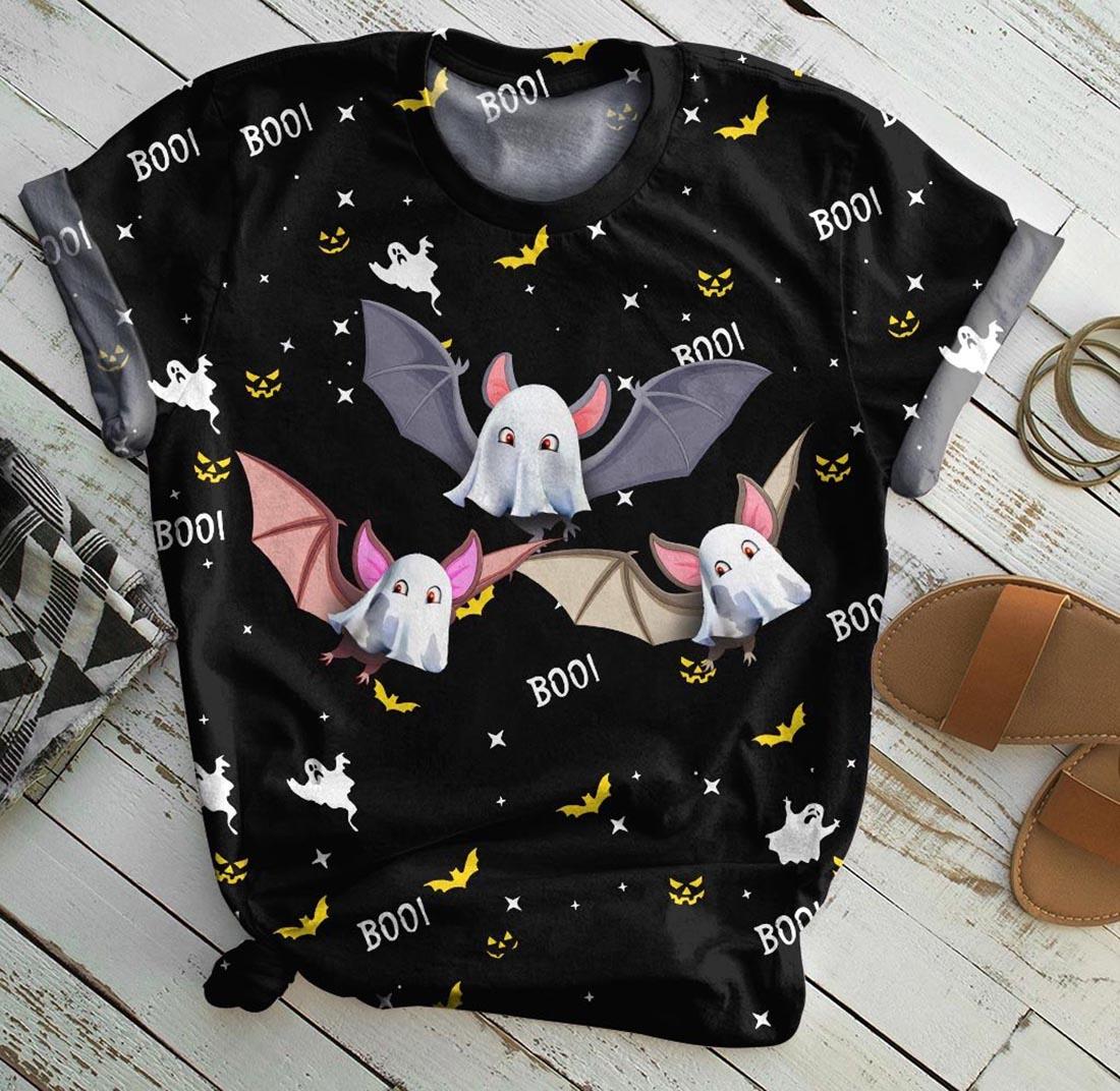 Bat boo boo halloween all over print t-shirt