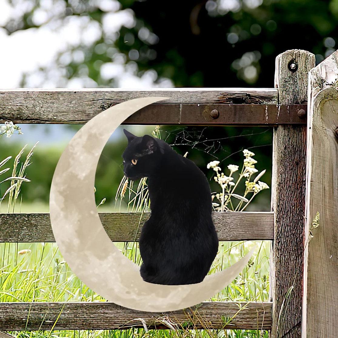 Black cat moon hanging metal sign