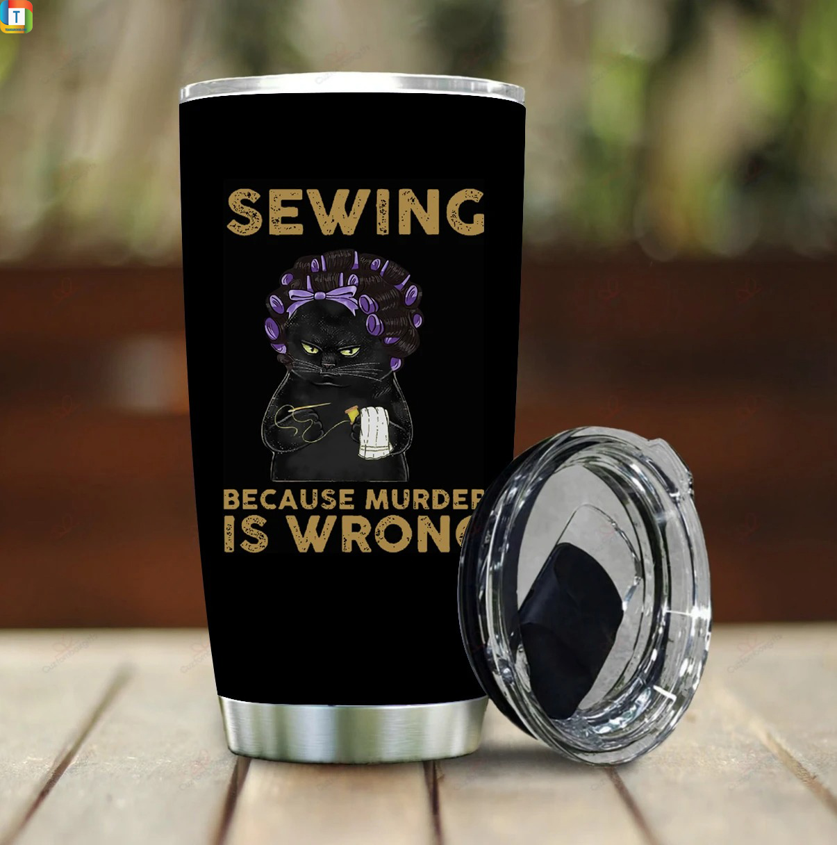 Black cat sewing because murder is wrong tumbler