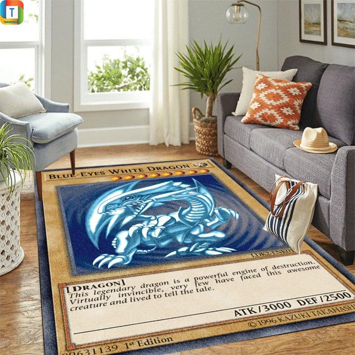 Blue-eyes white dragon yugioh card rug 1