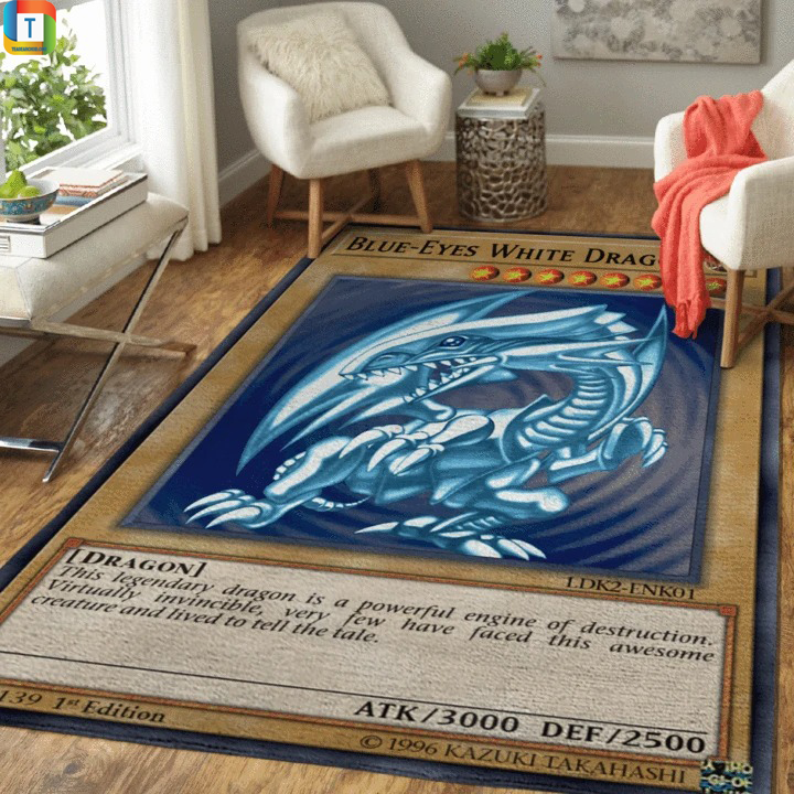 Blue-eyes white dragon yugioh card rug