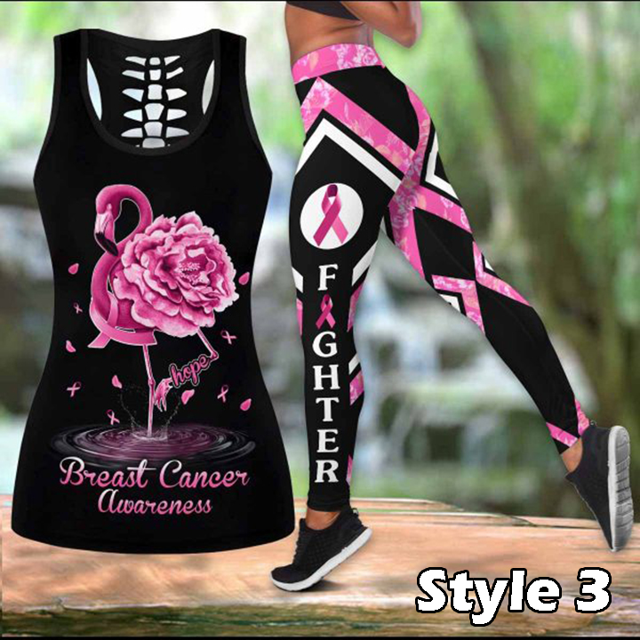 Breast Cancer Awareness Love Faith Hope Legging and Hollow Tank Top
