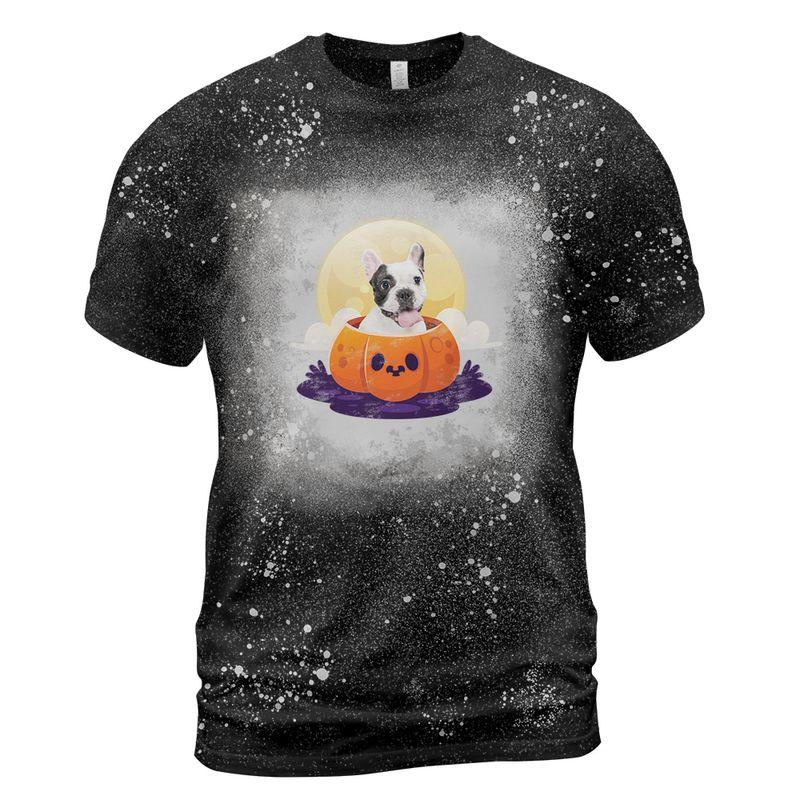 Bulldog puppy in pumpkin halloween bleached shirt