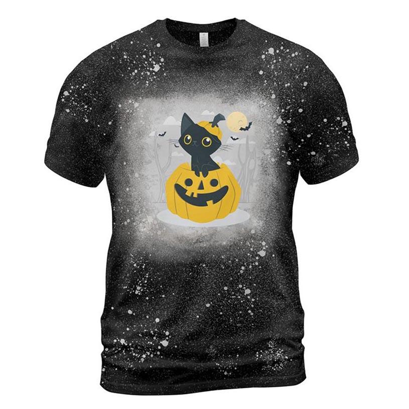 Cat And Pumpkin Bleached T-shirt