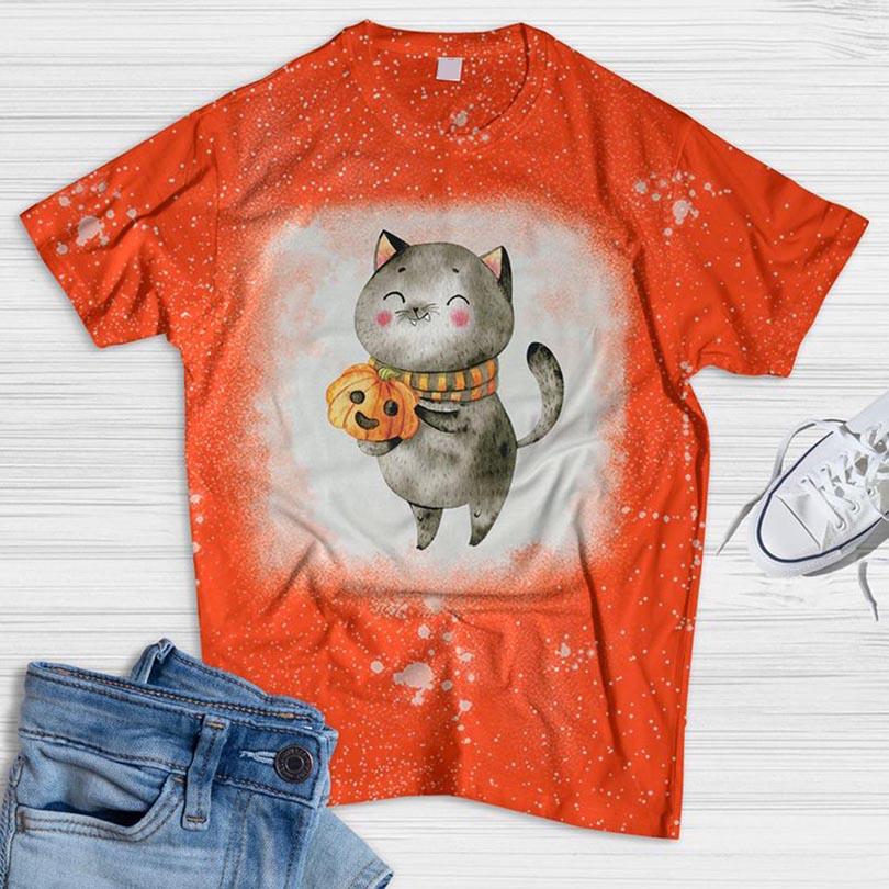 Cat And Pumpkin Cute Bleached T-shirt