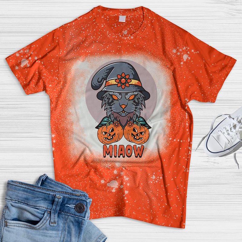 Cat And Pumpkin Miaow Bleached T-shirt