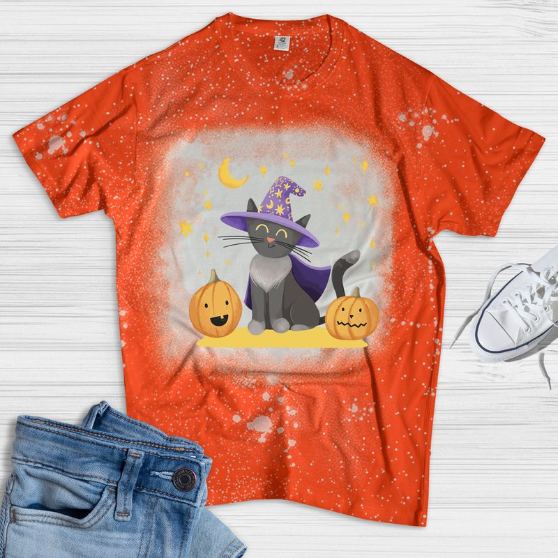 Cat In A Witch Hat And Pumpkin Bleached Shirt