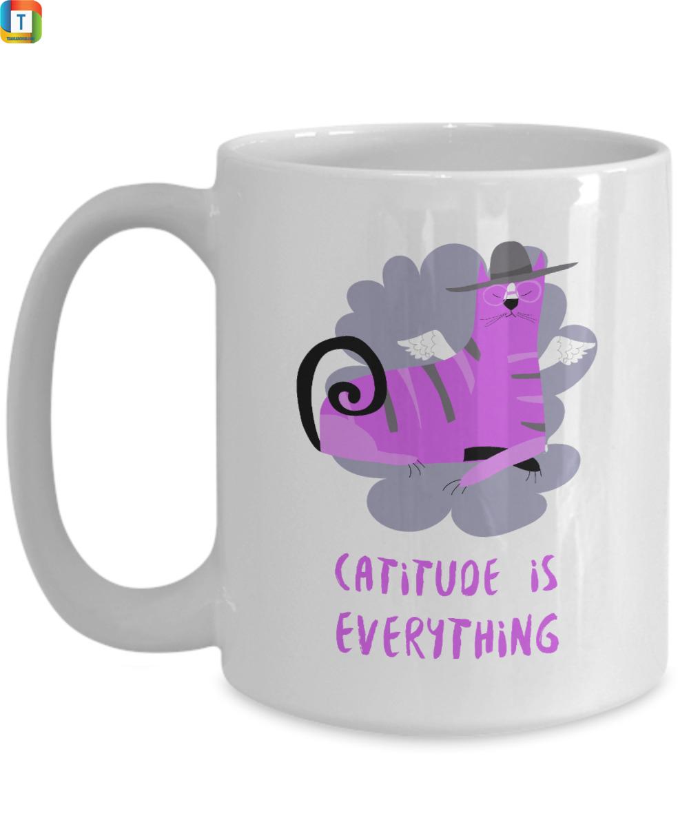 Catitude is everything funny cat mug