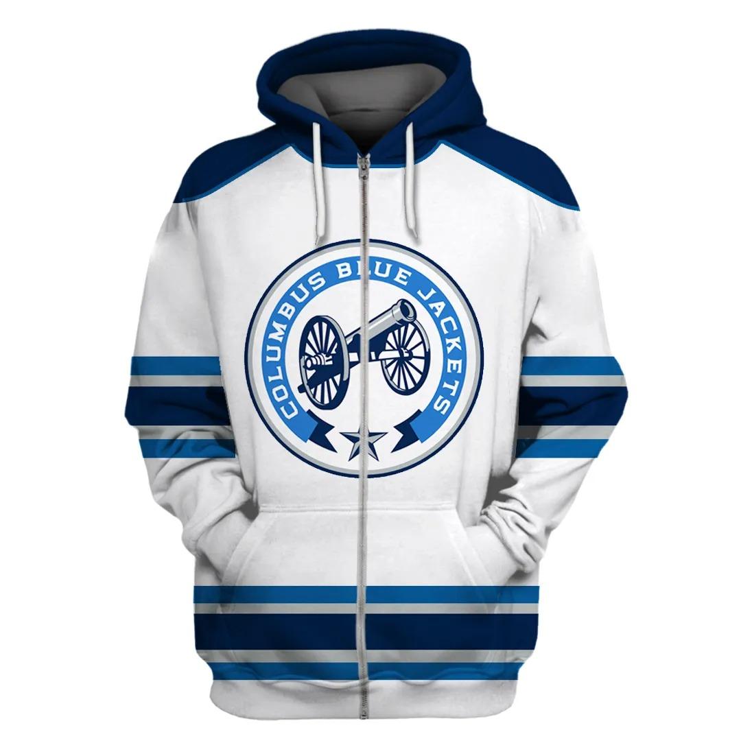 Columbus Blue Jackets NHL 3d full printing zip hoodie