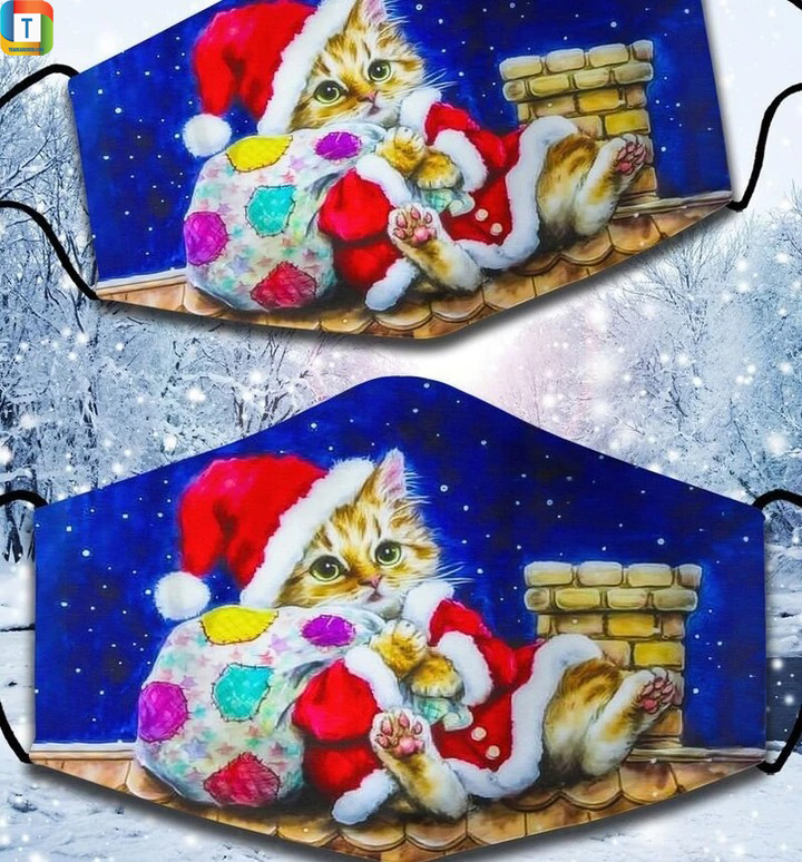 Cute Santa Claus Cat And Chimney Merry Christmas Cloth Face Cover