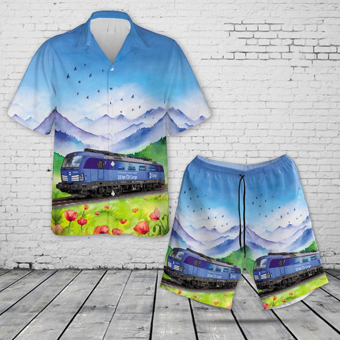 Czech Republic Ceske Drahy CDC 383 Multi-System Electric Locomotives Vectron Vetroun (Windy man) Hawaiian Shirt