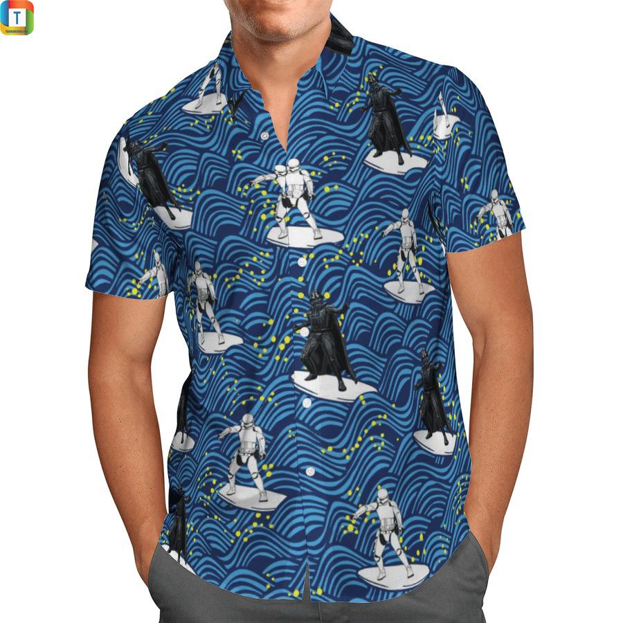 Darth vader and Stormtrooper surfing star wars hawaiian shirt 1