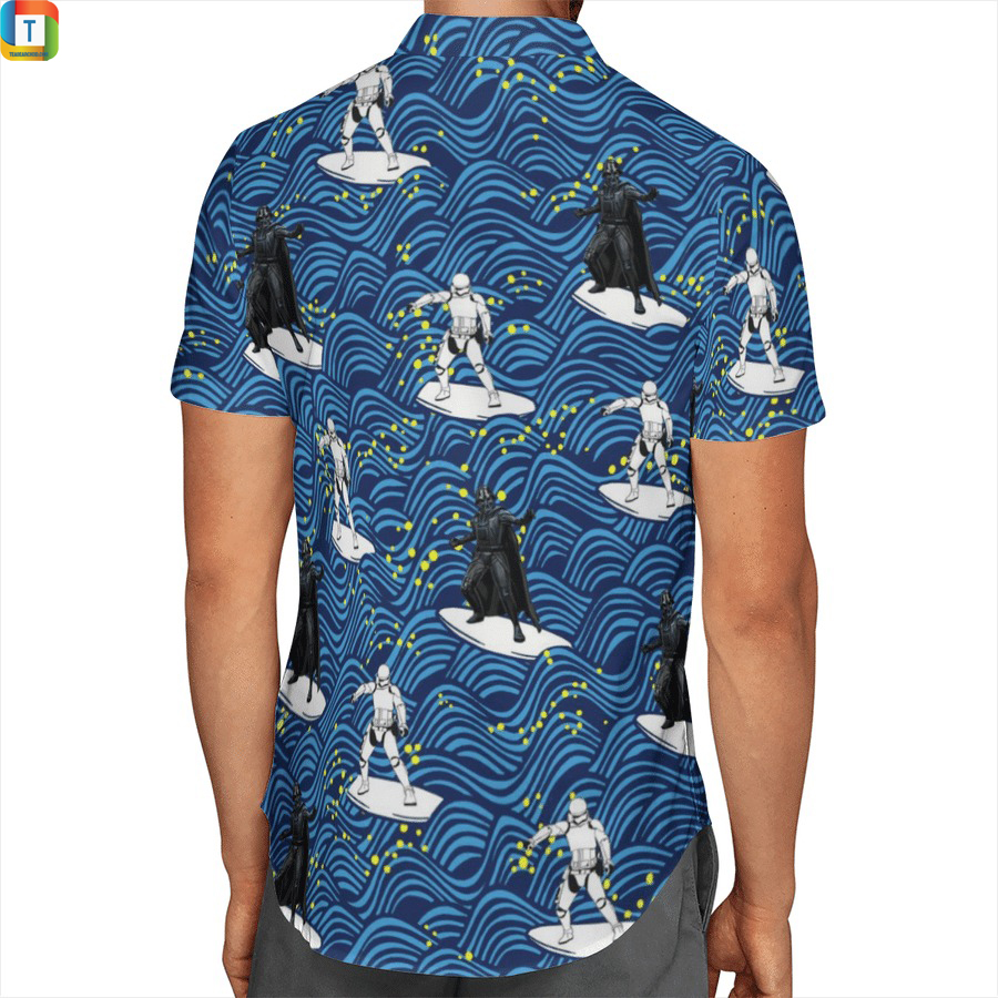 Darth vader and Stormtrooper surfing star wars hawaiian shirt 2