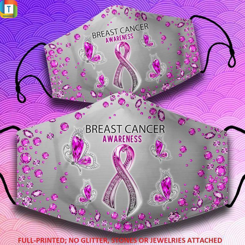 Diamond ribbon breast cancer face mask