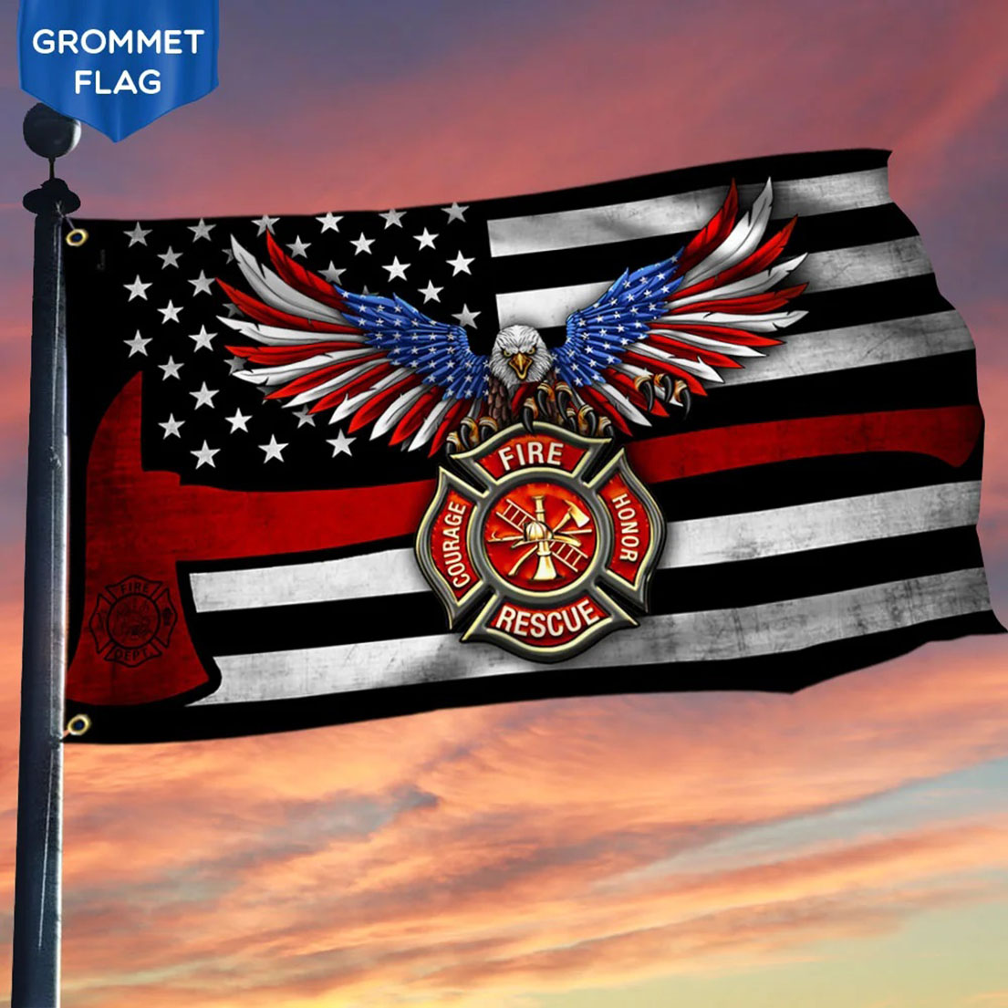 Eagle Firefighter Grommet The Thin Red Line Flag