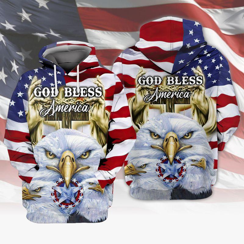 Eagle God Bless America Flag 3D All Over Print Hoodie