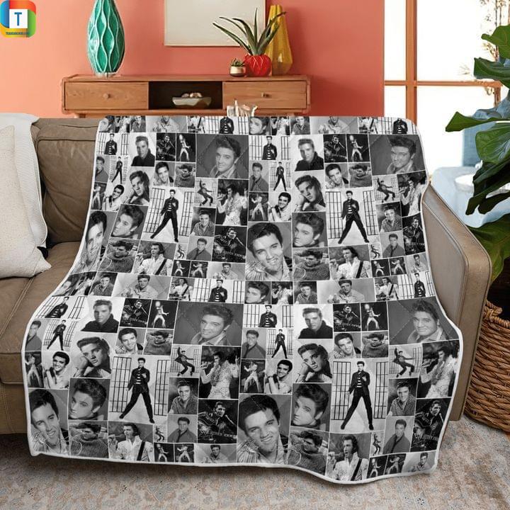 Elvis presley black and white art quilt