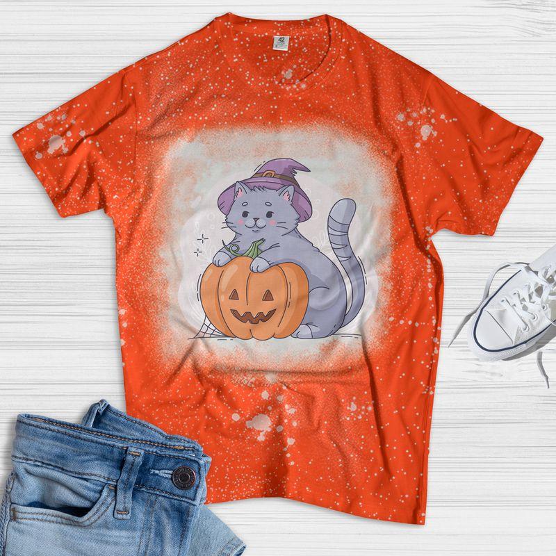 Fat Cat With Pumpkin Halloween Bleach Shirt
