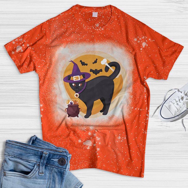 Flat Halloween Cat Bleached T-shirt