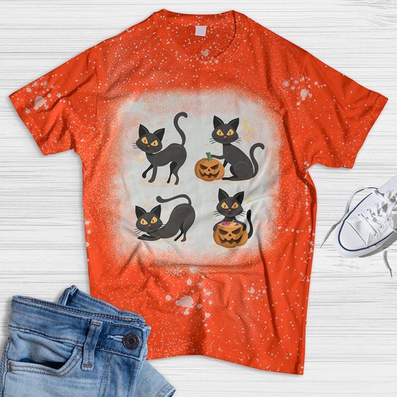 Four Cat And Pumpkin Bleached T-shirt