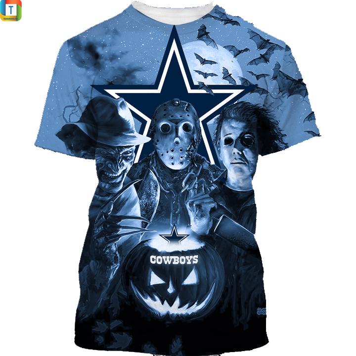 Dallas cowboys horror night hawaiian shirt and 3d hoodie 1