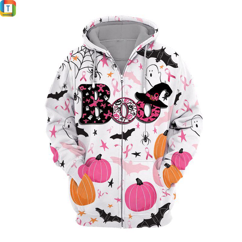 Happy halloween breast cancer awareness boo 3d printed zip hoodie