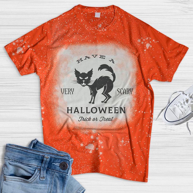 Have A Very Scary Halloween Cat Bleached T-shirt