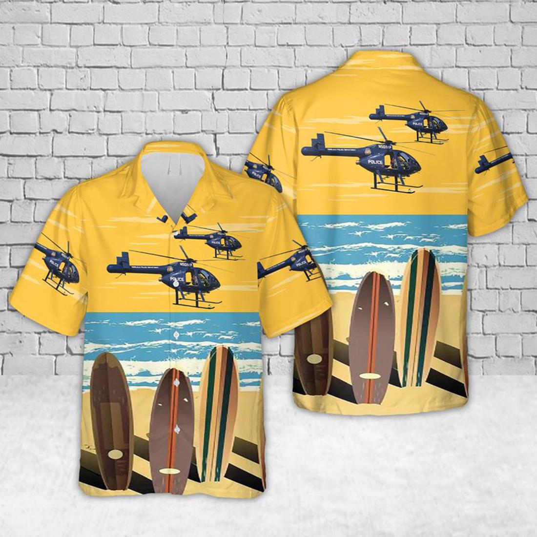 Honolulu Police Department Helicopter Hawaiian Shirt