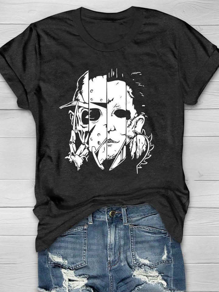 Horror Characters Fear On Halloween Shirt