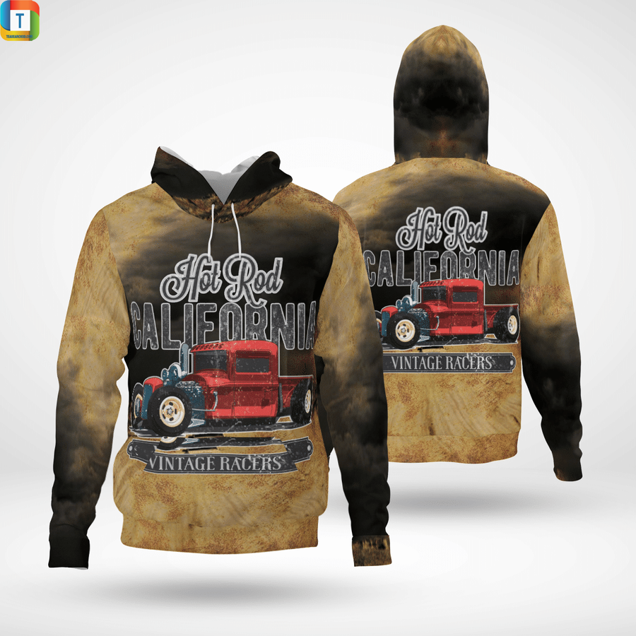 Hot rod california vintage racers and 3d all over printed hoodieHot rod california vintage racers and 3d all over printed hoodie