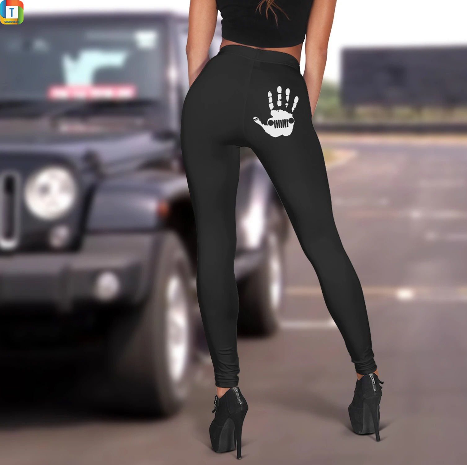 Jeep girl with skeleton hand on a butt leggings 2