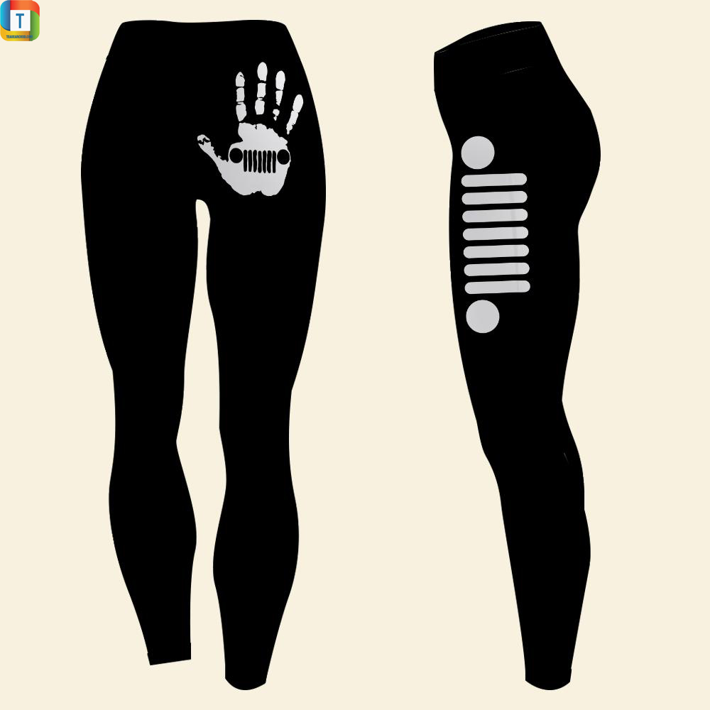 Jeep girl with skeleton hand on a butt leggings
