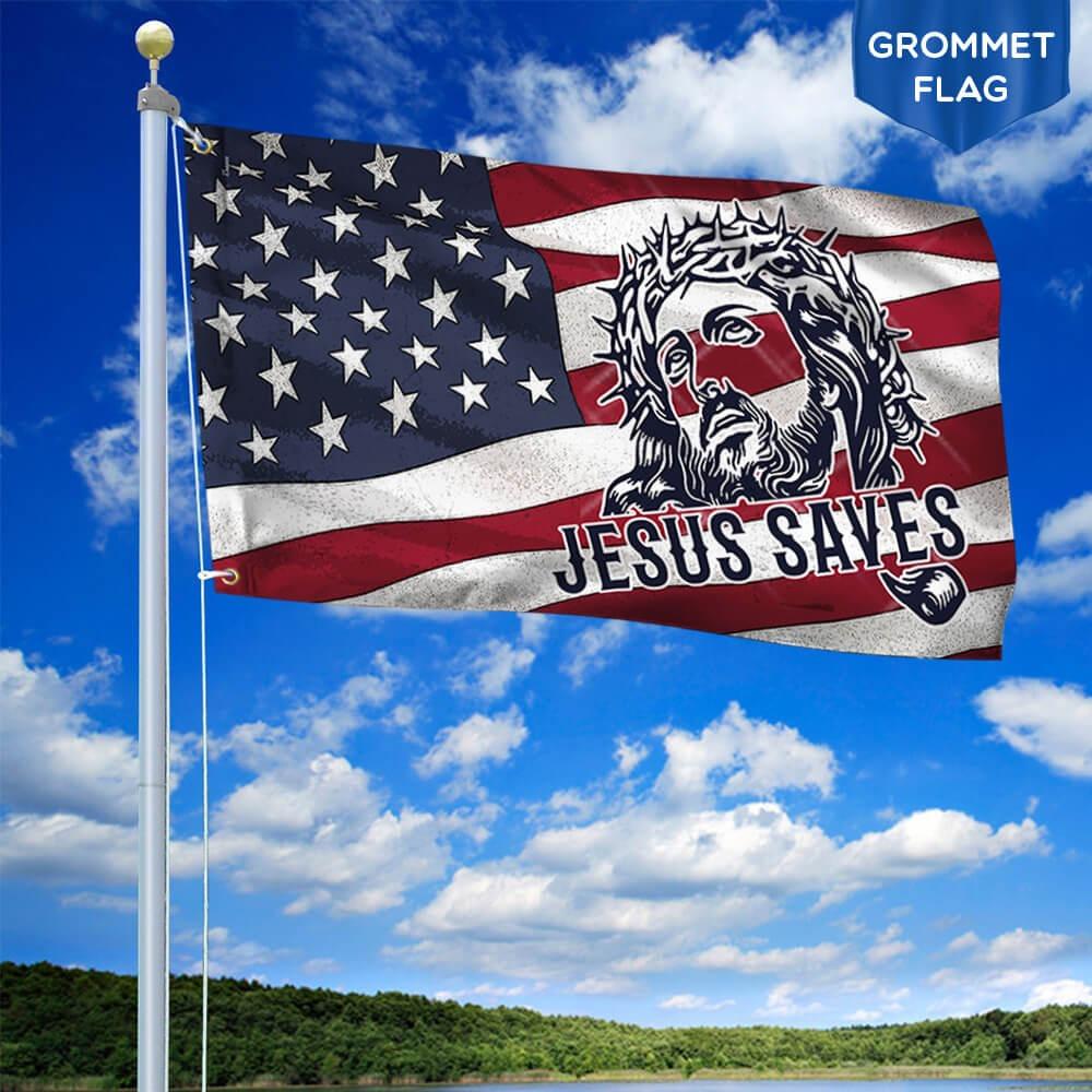 Jesus grommet flag jesus saves american flag 1