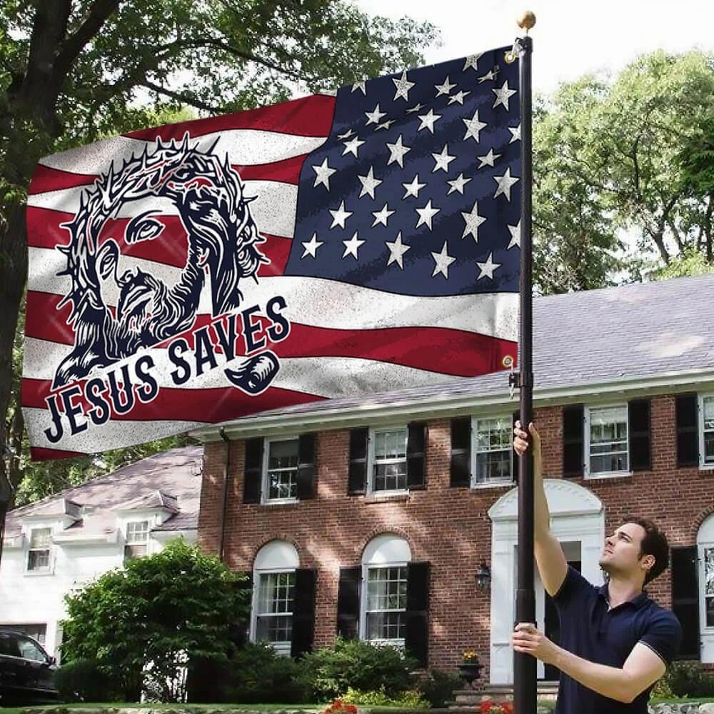 Jesus grommet flag jesus saves american flag 2Jesus grommet flag jesus saves american flag 2