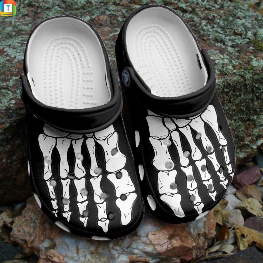 Halloween skeleton foot crocs crocband shoes