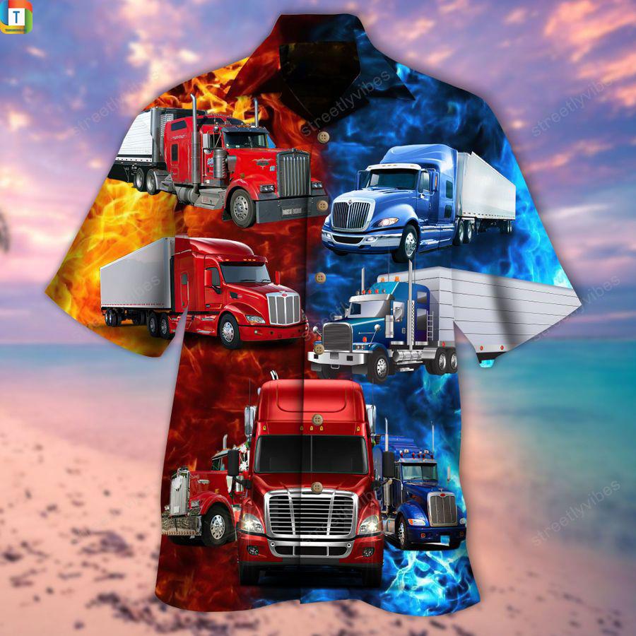 Keep on trucking truck driver hawaiian shirt