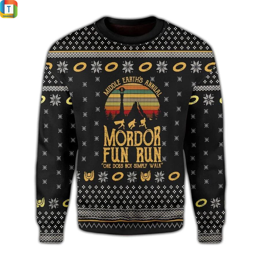 LOTR middle earths annual mordor fun run ugly sweaterLOTR middle earths annual mordor fun run ugly sweater