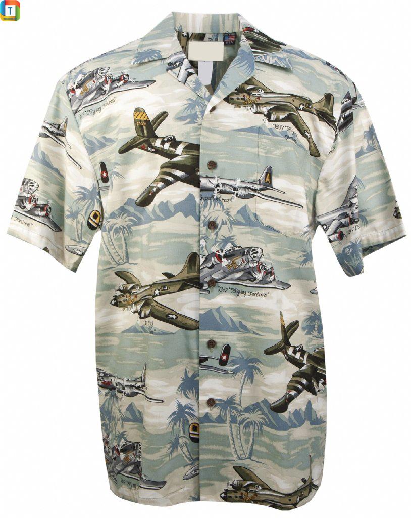 US Bombers Short Sleeve Hawaiian Aloha Shirt