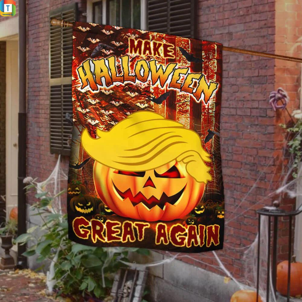 Make halloween great again Trump pumpkin flag 1