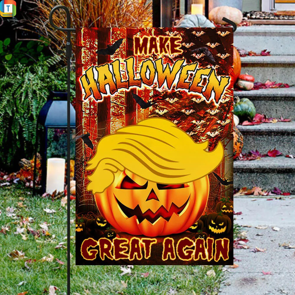 Make halloween great again Trump pumpkin flag 2