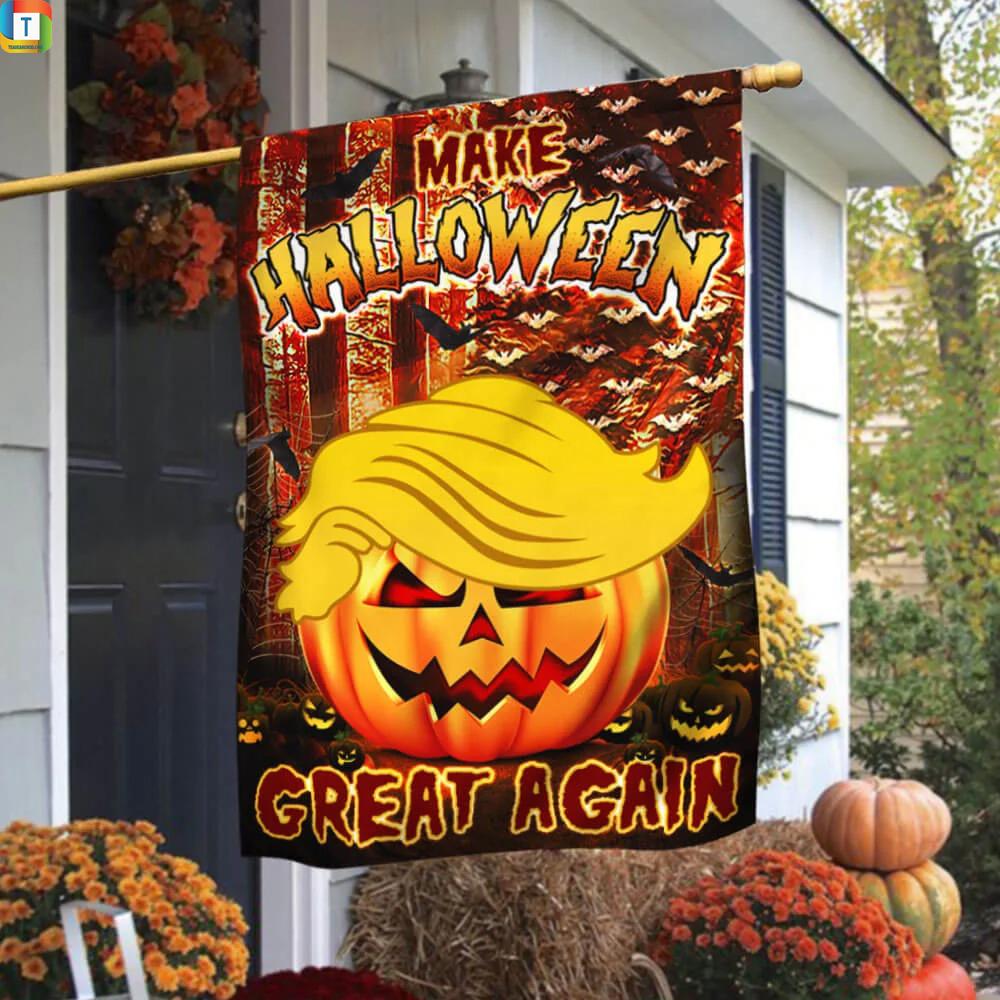 Make halloween great again Trump pumpkin flag