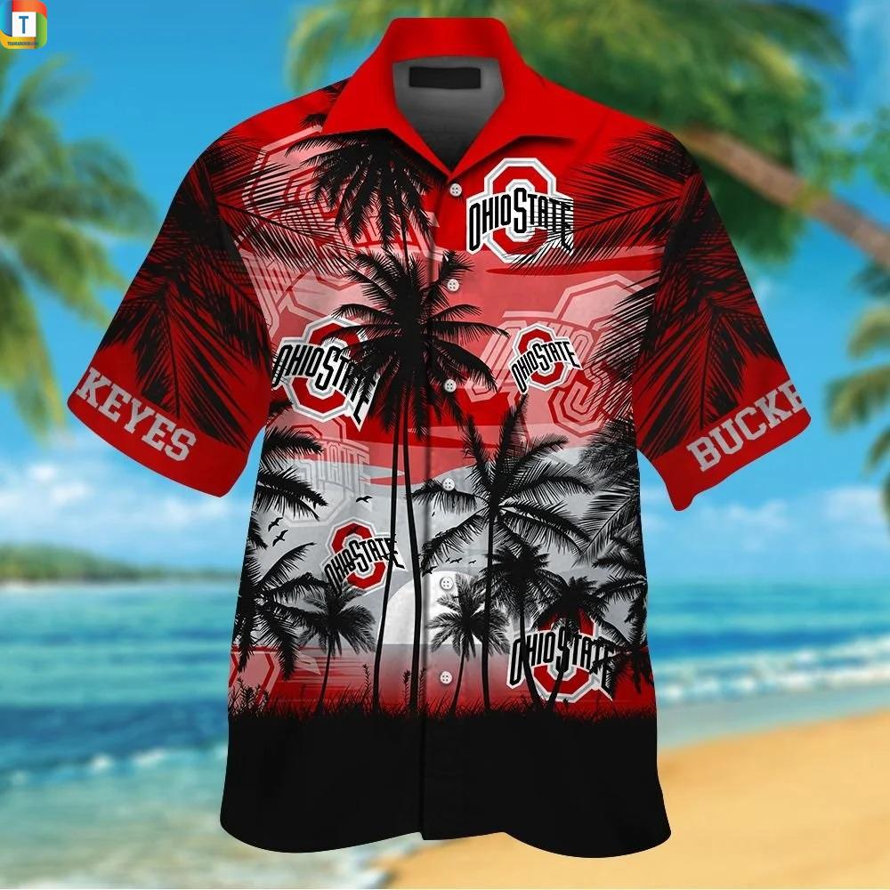Ohio state buckeyes tropical hawaiian shirt