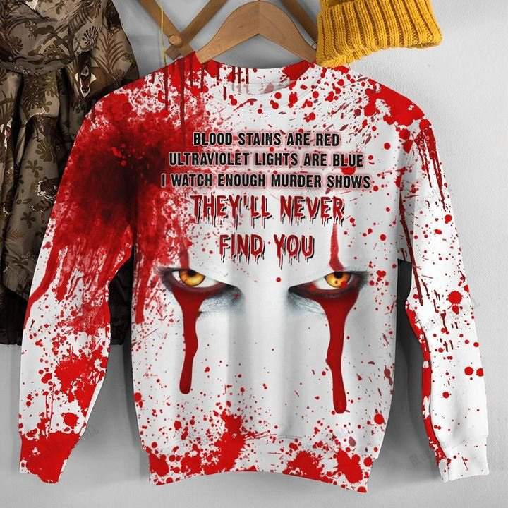 Pennywise IT They'll Never Find You Crossed Eyes 3D All Over Print Shirt