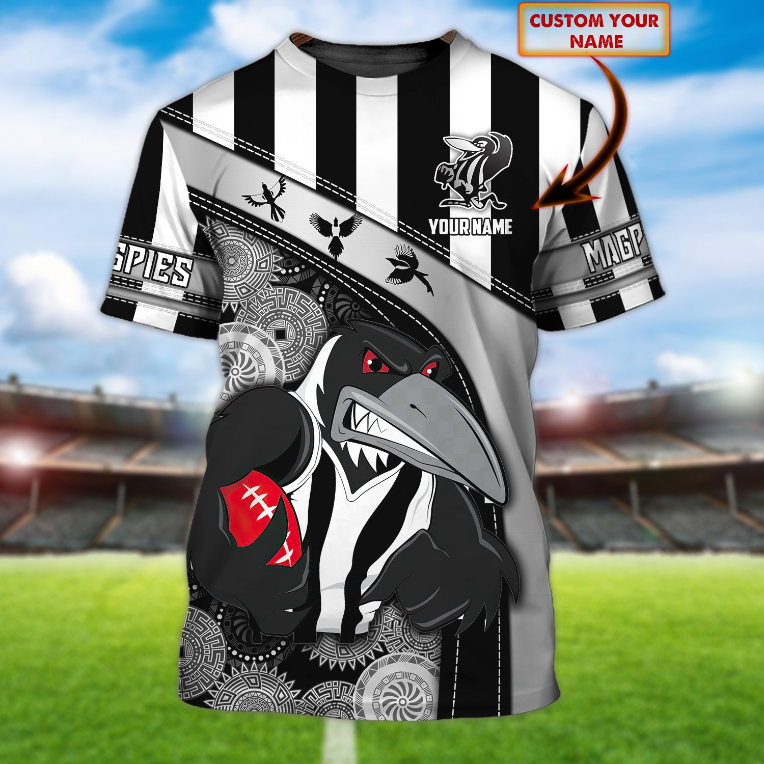 Personalized Name Collingwood Magpies 3D Shirt