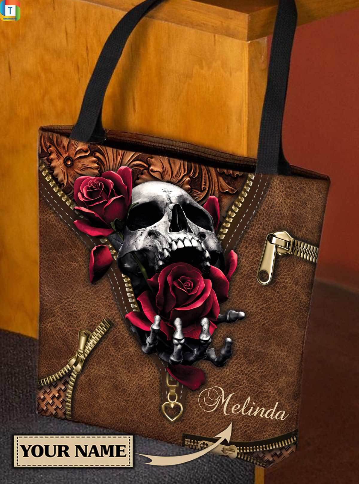 Personalized Skull All Over Tote Bag