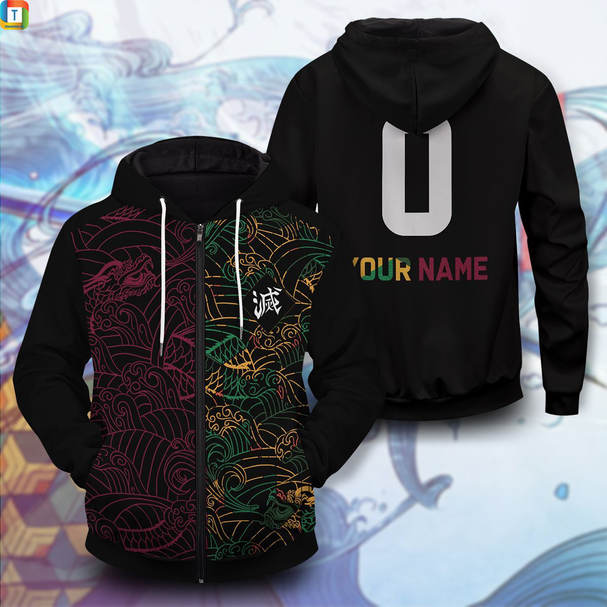 Personalized tomioka giyu unisex zipped hoodie