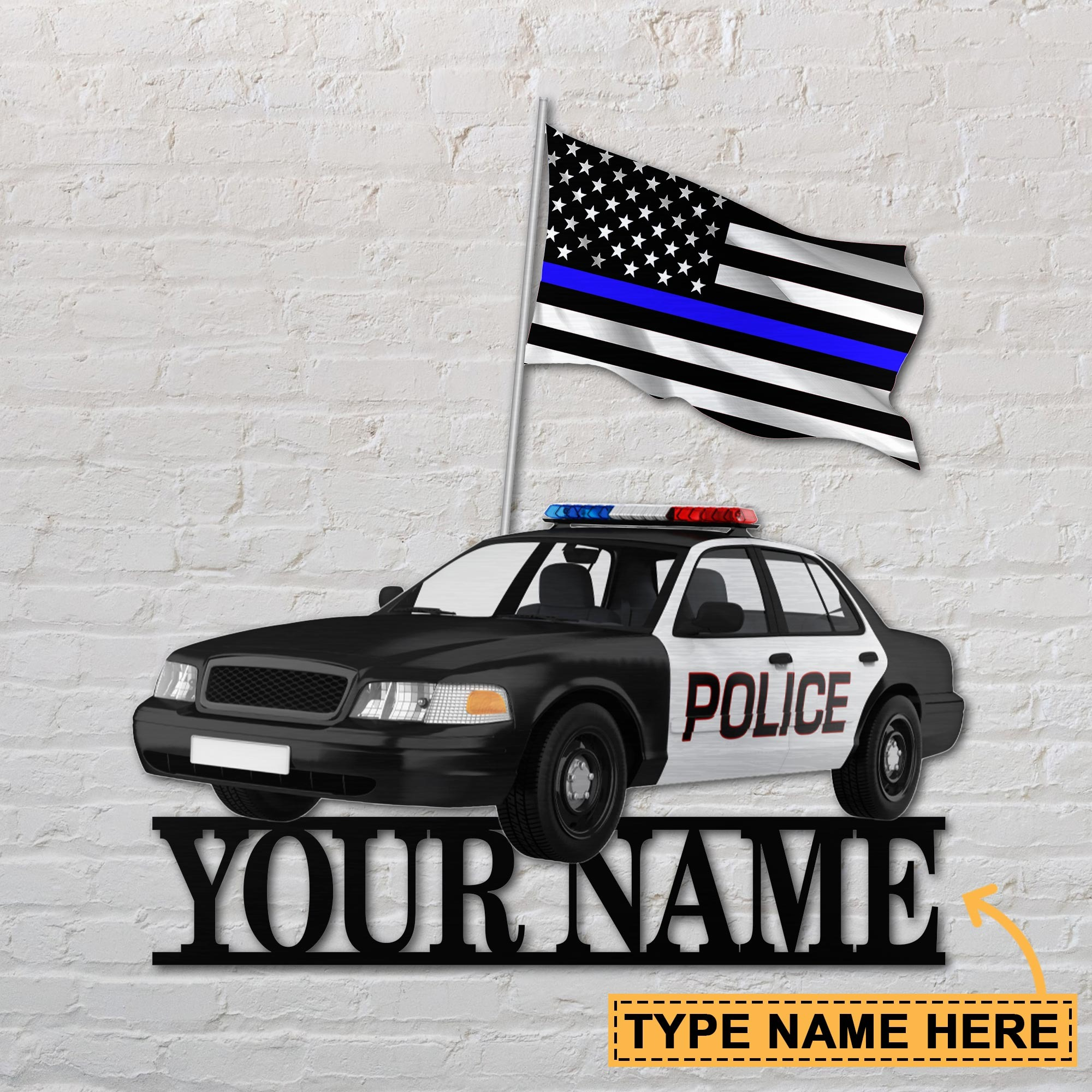 Police Car Custom Name Metal Sign 2