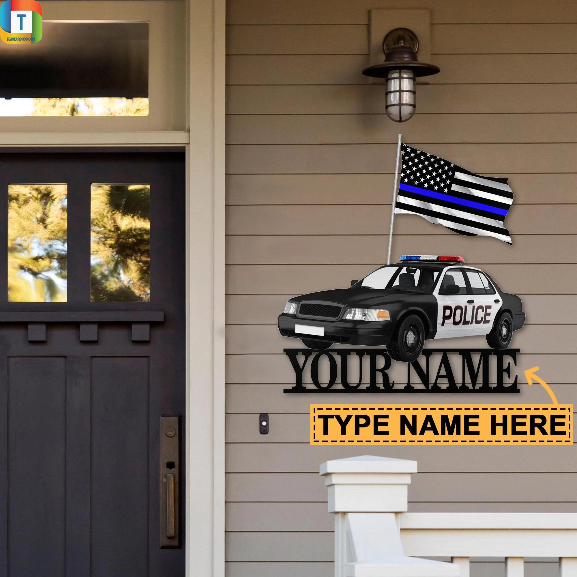 Police Car Custom Name Metal SignPolice Car Custom Name Metal Sign
