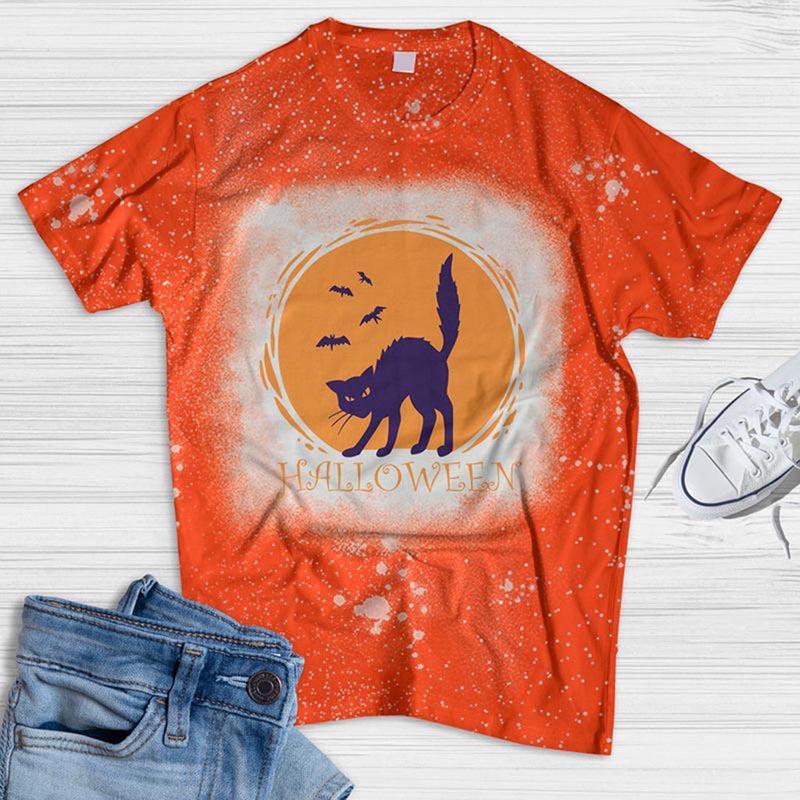 Purple Cat Halloween Bleached T-shirt